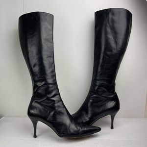 Gucci Leather Pointed-Toe Knee-High Black Boot 10B